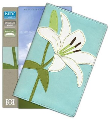 NIV Thinline Bloom Collection Bible, Italian Duo-Tone, White Lily  -