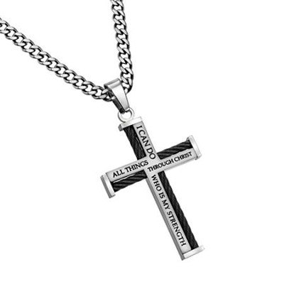 Christ My Strength Cable Cross Necklace  -