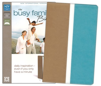 NIV Busy Family Bible: Daily Inspiration Even If You Only Have a Minute, Italian Duo-Tone, Camel/Turquoise  -