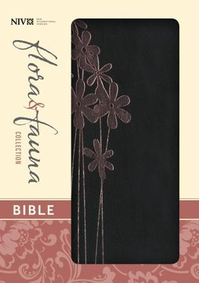 NIV Flora and Fauna Collection Bible, Compact, Italian Duo-Tone, Black with Pink Metallic Flowers  -