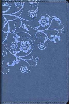 NIV Flora and Fauna Collection Bible, Compact, Italian Duo-Tone, Marina Blue/Floral - Imperfectly Imprinted Bibles  -