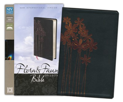 NIV Thinline, Forget-Me-Nots, Flora and Fauna Collection Bible, Italian Duo-Tone, Metallic Black - Imperfectly Imprinted Bibles  -