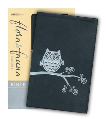 NIV Flora and Fauna Collection Bible, Italian Duo-Tone, Black/Silver Owl - Imperfectly Imprinted Bibles  -