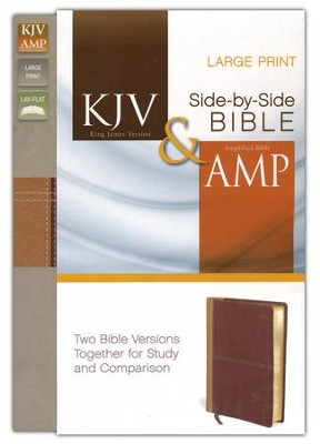KJV and Amplified Side-by-Side Bible, Italian Duo-Tone, Camel/Brown, Large Print  -