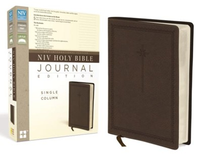 NIV Holy Bible, Journal Edition, Single Column--soft leather-look, brown  -