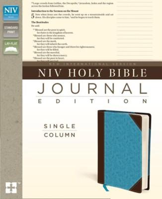NIV Journal Edition, Single Column--soft leather-look chocolate/turquoise  -