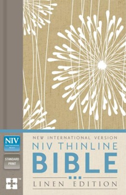 NIV Thinline Bible--clothbound hardcover with floral abstract design  -