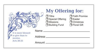 Blessed to Give Offering Envelopes, Pack of 100, Bill Size  -