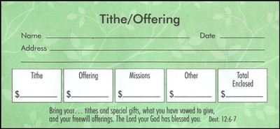 Tithe and Offering Envelopes, Pack of 100, Bill Size  -