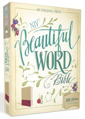 NIV Beautiful Word Bible--soft leather-look, taupe/cranberry  -