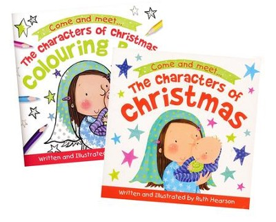 The Characters of Christmas Board Book & Coloring Book - 2 Pack ...