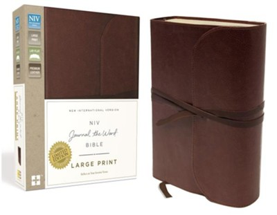 NIV Journal the Word Bible, Large Print, Genuine Leather, Brown  -