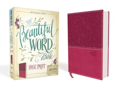 NIV Beautiful Word Large-Print Bible--soft leather-look, cranberry  -