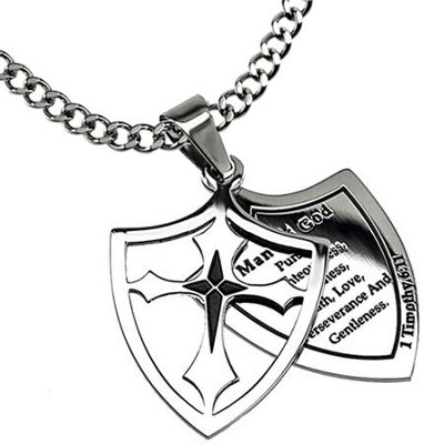Man of God Pursue Shield Cross Necklace  -