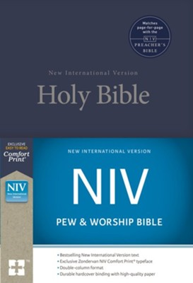 NIV Pew and Worship Bible--hardcover, blue  -