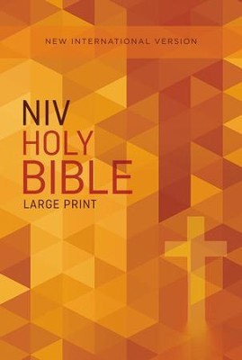 NIV Large-Print Outreach Bible--softcover, orange cross  -