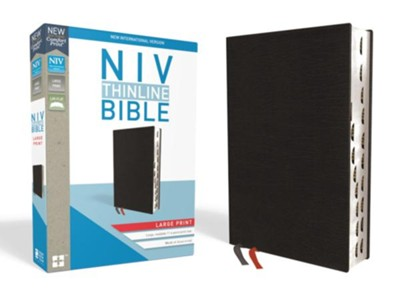 NIV Thinline Bible Large Print Black, Bonded Leather, Indexed  -