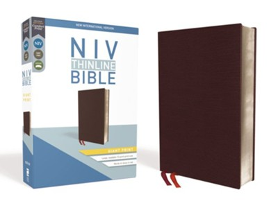NIV Thinline Bible Giant Print Burgundy, Bonded Leather   -