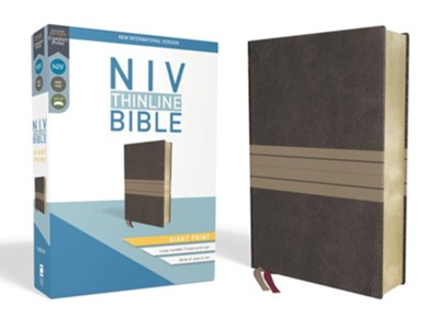 NIV Thinline Bible Giant Print Brown and Tan, Imitation Leather  -
