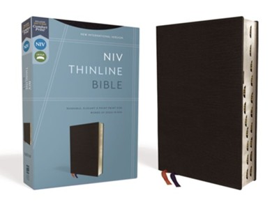 NIV Thinline Bible Black, Bonded Leather, Indexed  -