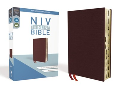 NIV Thinline Bible Burgundy, Bonded Leather, Indexed  -