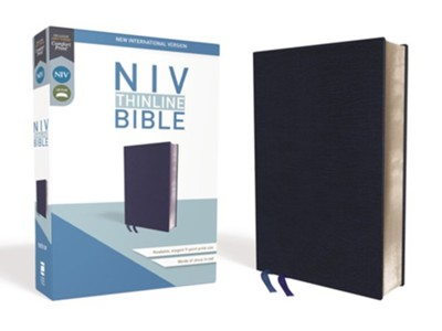 NIV Thinline Bible Navy, Bonded Leather  -