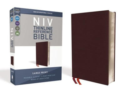 NIV Comfort Print Thinline Reference Bible, Large Print, Bonded Leather, Burgundy  -