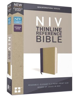 NIV Comfort Print Thinline Reference Bible, Cloth over Board, Blue and Tan  -