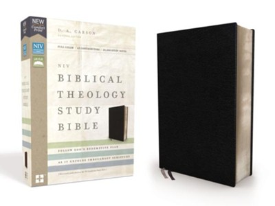 NIV Comfort Print Biblical Theology Study Bible, Bonded Leather, Black  -     By: D.A. Carson