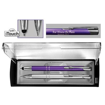 Adoration Pen and Pencil Gift Set, Violet and Silver  -