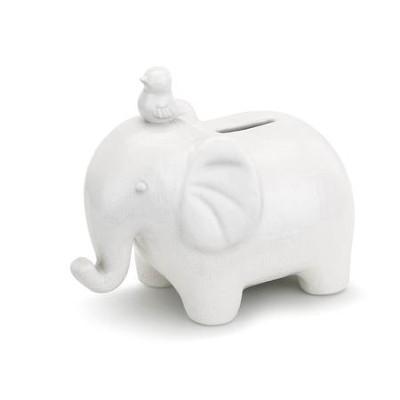 Emerson Elephant Piggy Bank White