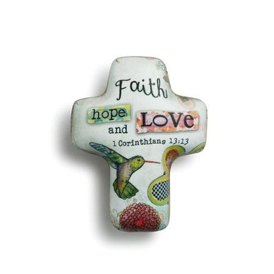 Faith Hope and Love, Artful Cross Token  -