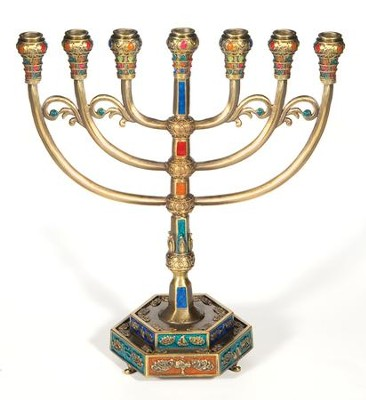 7 Branch Pewter Menorah, Large     -