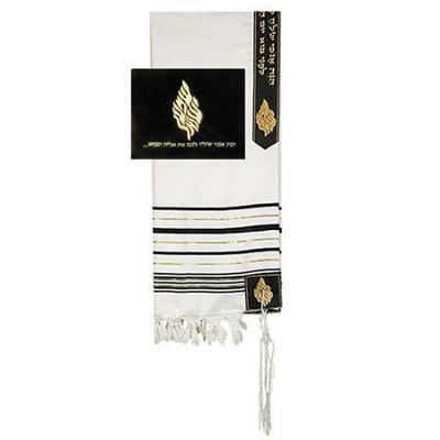 Elijah Tallit w/Velvet Bag Set, 50 Wool Shawl   -