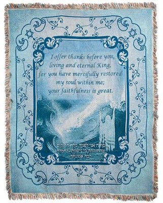 I Offer Thanks Throw Blanket Blue   -