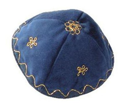 Bright Blue Velvet Kippah   -