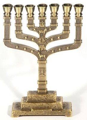 12 Tribes Brass Menorah   -