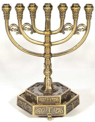 12 Tribes Brass Menorah on Hexagon Base   -