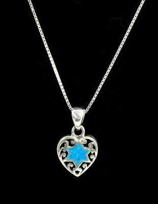 Opal Blue Star of David in Heart Necklace   -