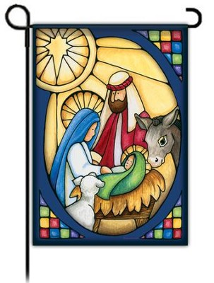 Stained Glass Nativity Flag, Small  -     By: Laurie Furnell