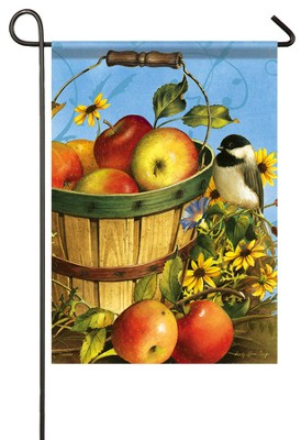Chickadees and Apples Flag, Small  -     By: Sandy Clough