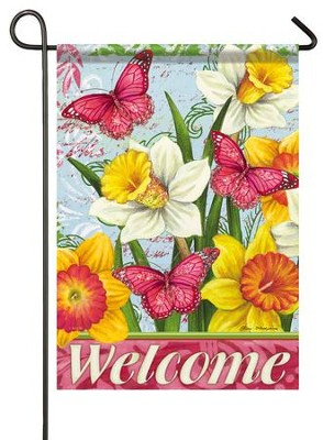 Welcome, Bright Daffodils, Glitter Flag, Small  -     By: Elena Vladykina