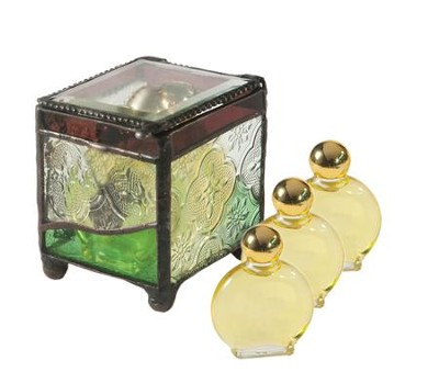 Anointing Oils in Ornamental Glass Box    -