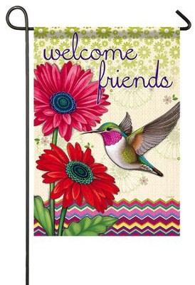 Welcome Friends, Hummingbird Glory Flag, Small  -     By: Jo D. Cooper
