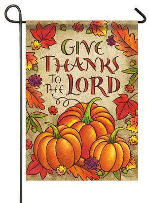 Give Thanks To the Lord Flag, Pumpkins, Small  -     By: Tina Wenke