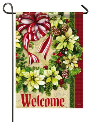 Welcome, White Poinsettia Wreath Flag, Small  -     By: Sue Zipkin