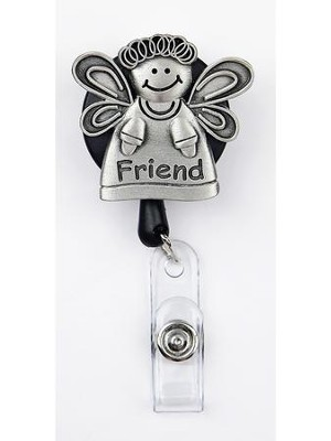 Friend Angel, Pewter Badge Holder  -