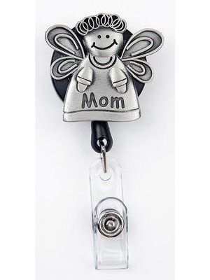 Mom Angel, Pewter Badge Holder  -