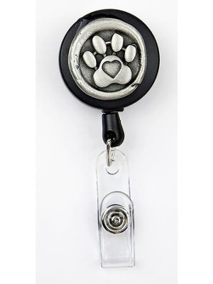 Paw Print, Pewter Badge Holder  -
