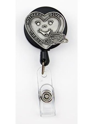 Heart, Mothers Give Their Love, Pewter Badge Holder  -